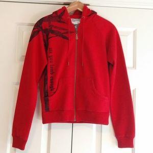 L.A.M.B. Red Zip Up Hooded Sweatshirt Medium